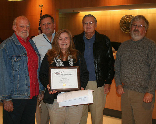 Mississippi AMA Members Archie April, Lou Porath, District V Associate Vice President Paul Verger, and Lee Carroll attended the November 17 Board Meeting to make the presentation to Powell. (Jackson County Board of Supervisors)