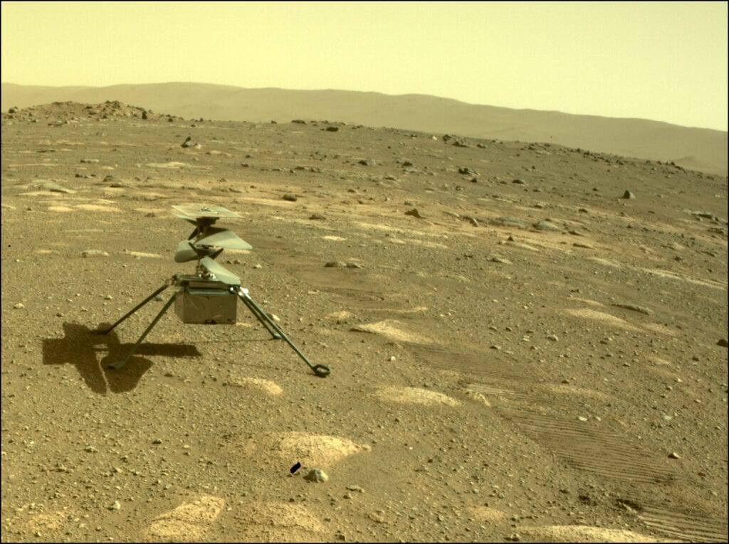 Ingenuity helicopter on the surface of Mars