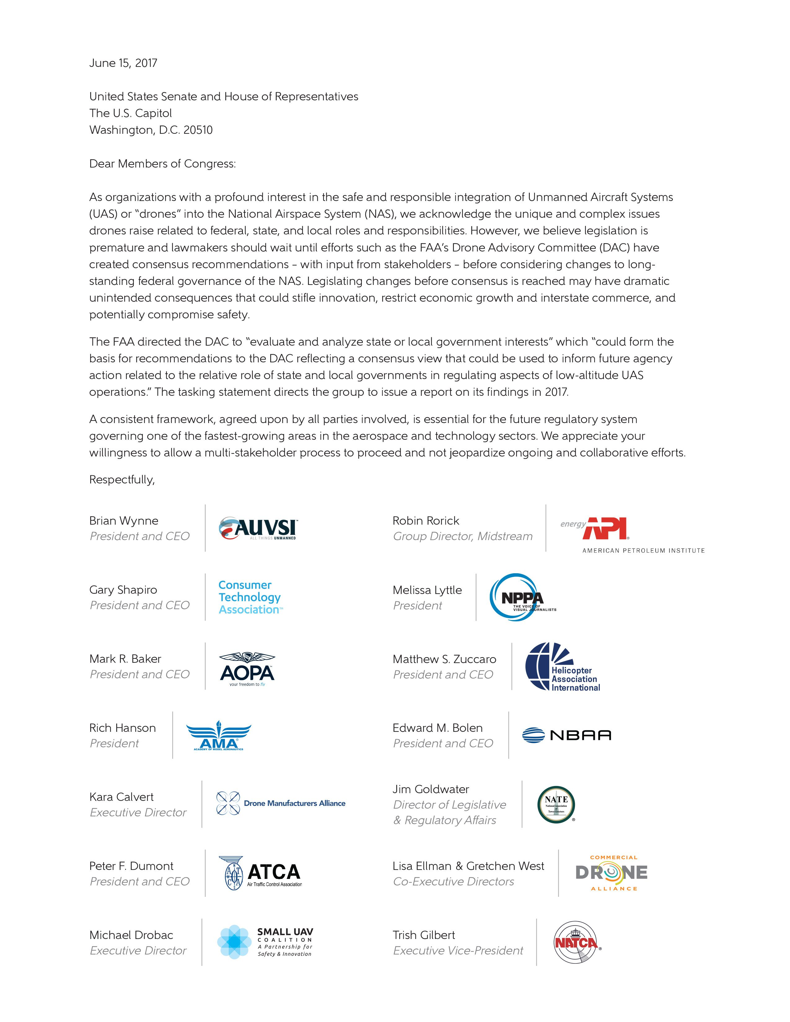 FAA Reauthorization Letter on Federal Sovereignty of Airspace