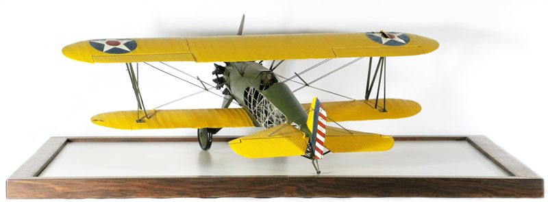 The rear section of the fuselage is not currently covered, allowing the viewer to see the model's frame.